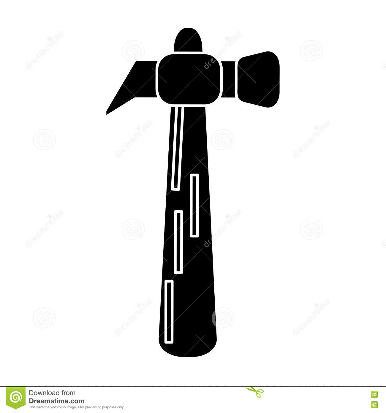 Hammer Tool Steel Wooden Icon Pictogram Stock Illustration.