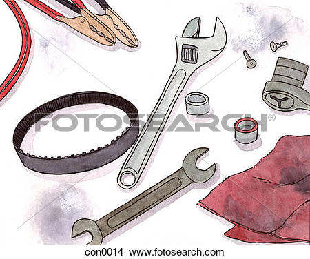 Drawings of Still life of a mechanics tools con0014.