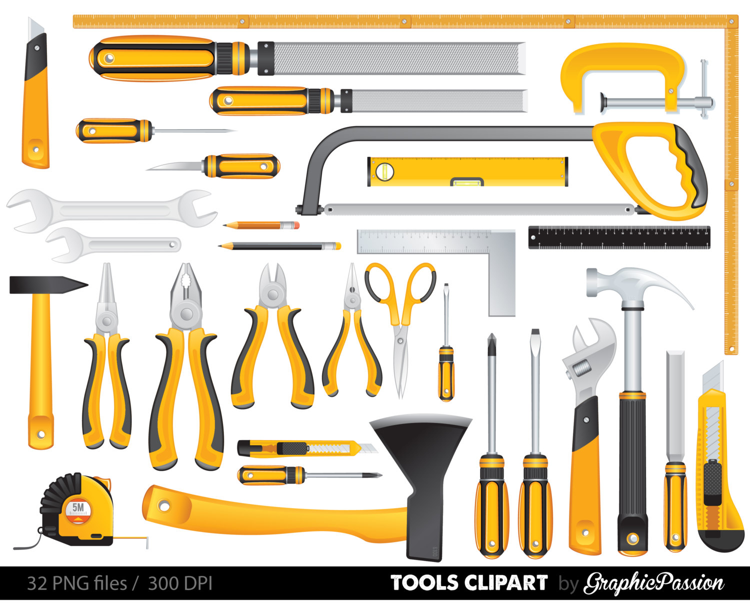 Yellow Tools Clipart Set, Tools Clip art, Digital Files, Helping.