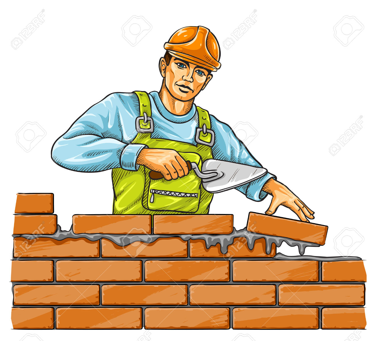 Builder Man With Derby Tool Building A Brick Wall.