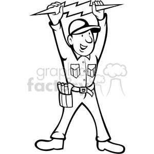 black and white electrician thunderbolt toolman clipart. Royalty.
