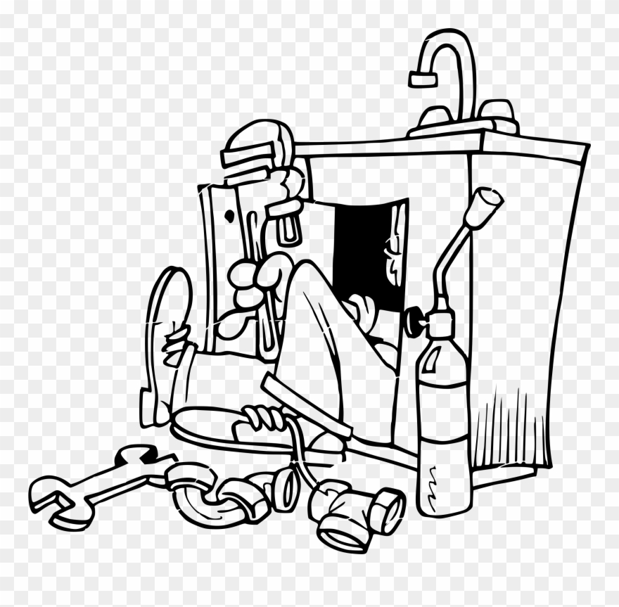 Plumber Tools Clipart Black And White Royalty Free.