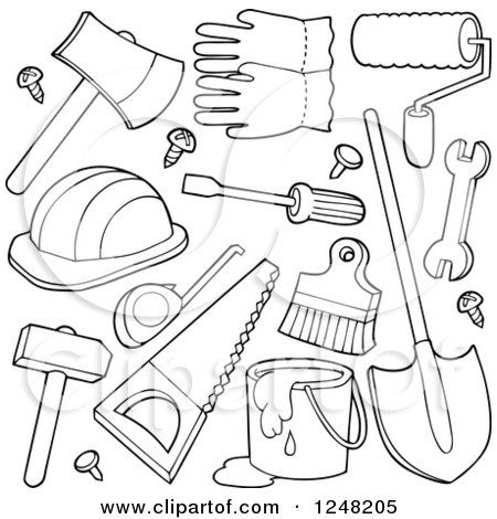 Image result for CLIPART black and white hand tools.