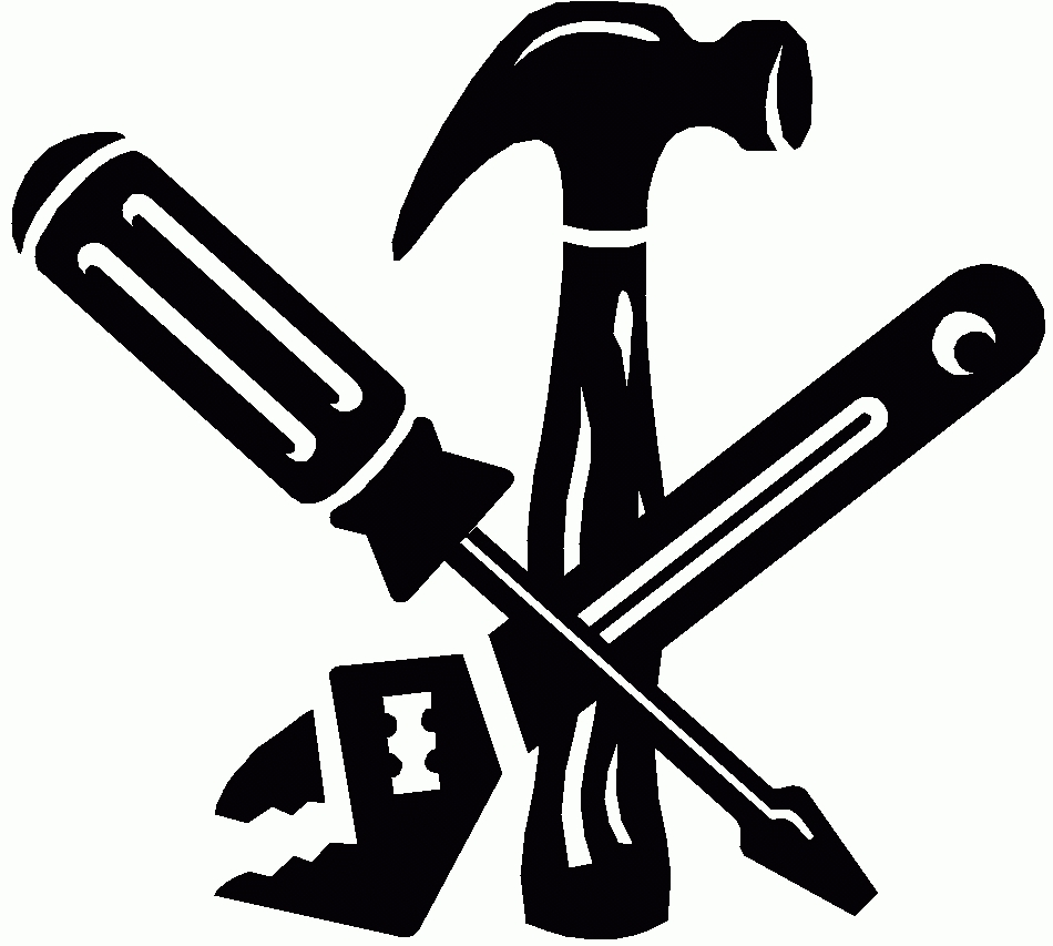 Construction Tools Clipart Black And White.