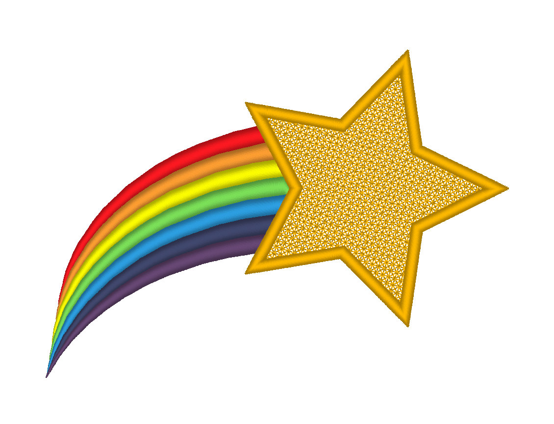 Rainbow shooting stars clipart.