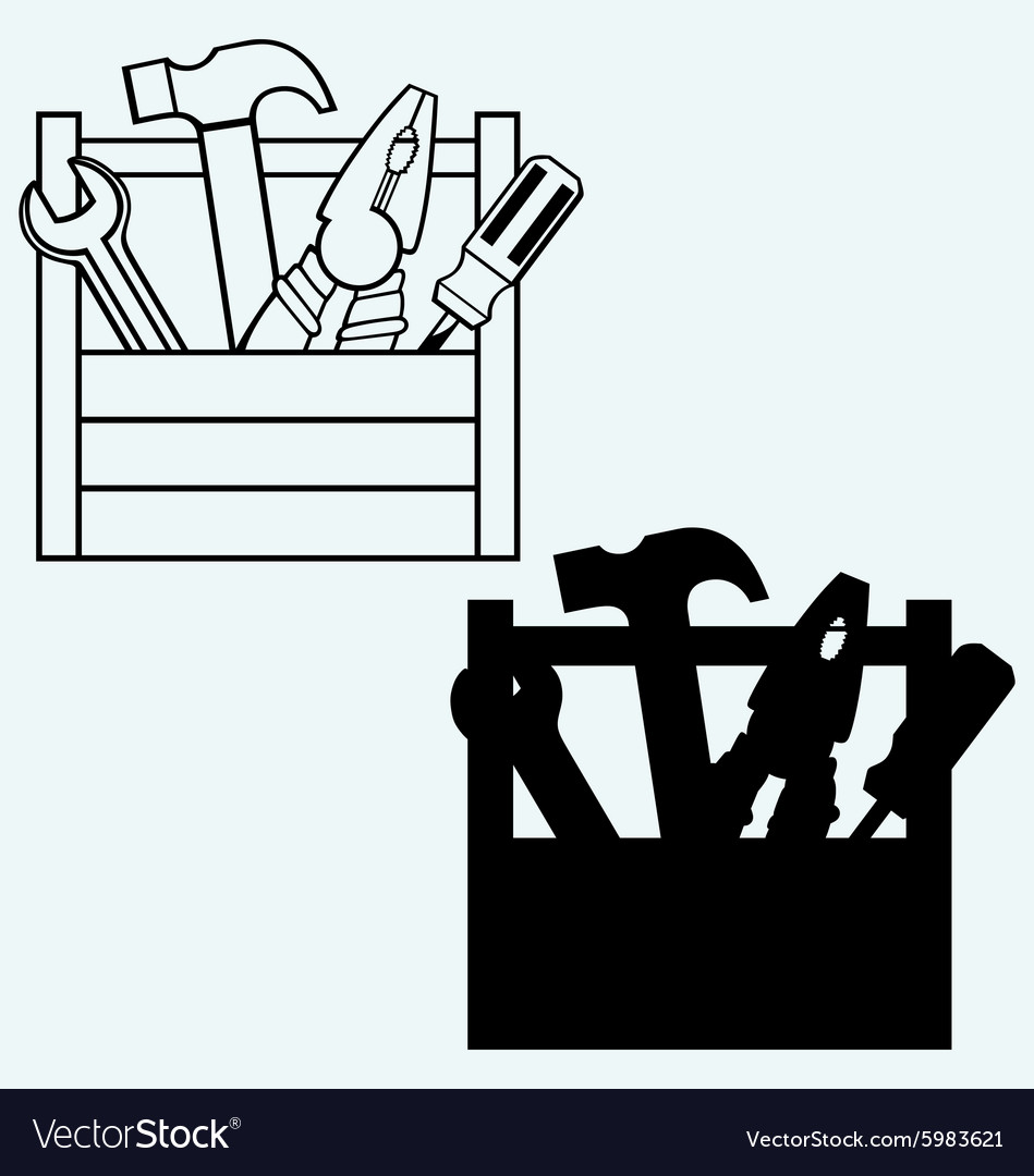 Toolbox with tools vector image on VectorStock.