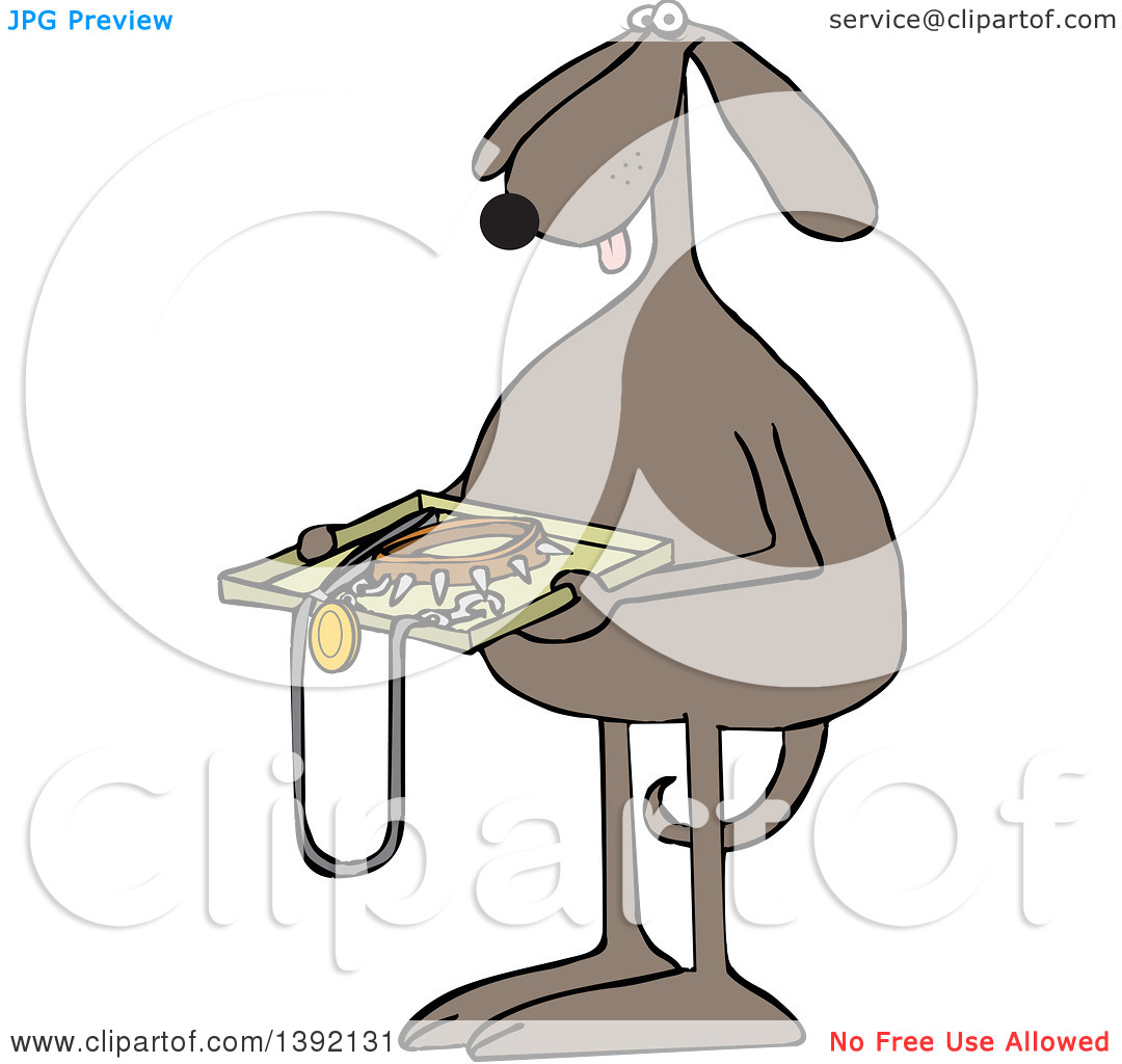 Toon Clipart of a Brown Dog Holding a Tsa Tray of Accessories.