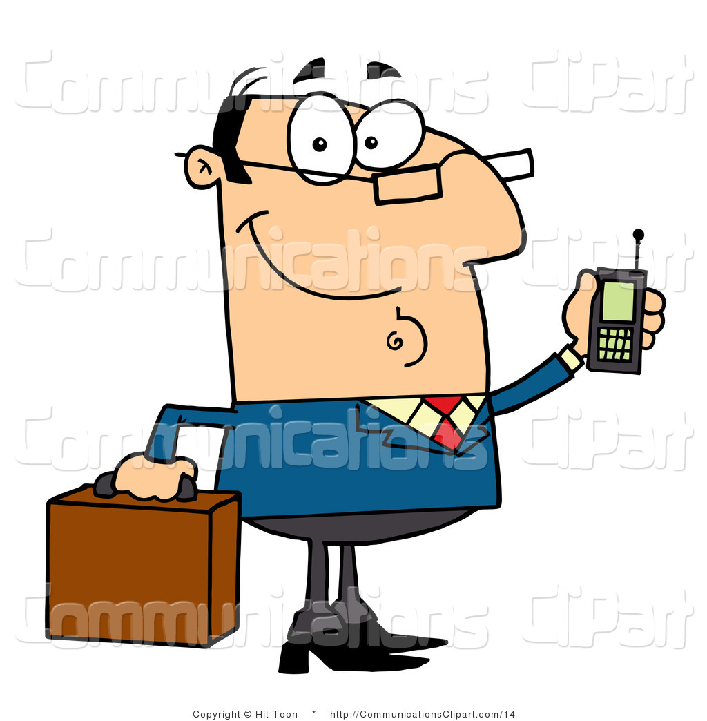 Vector Communication Clipart of a Chatty Caucasian Businessman.