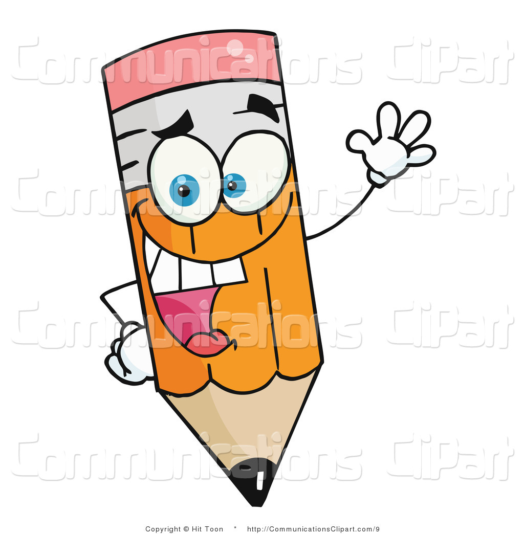 Communication Clipart of a Friendly Pencil Waving by Hit Toon.