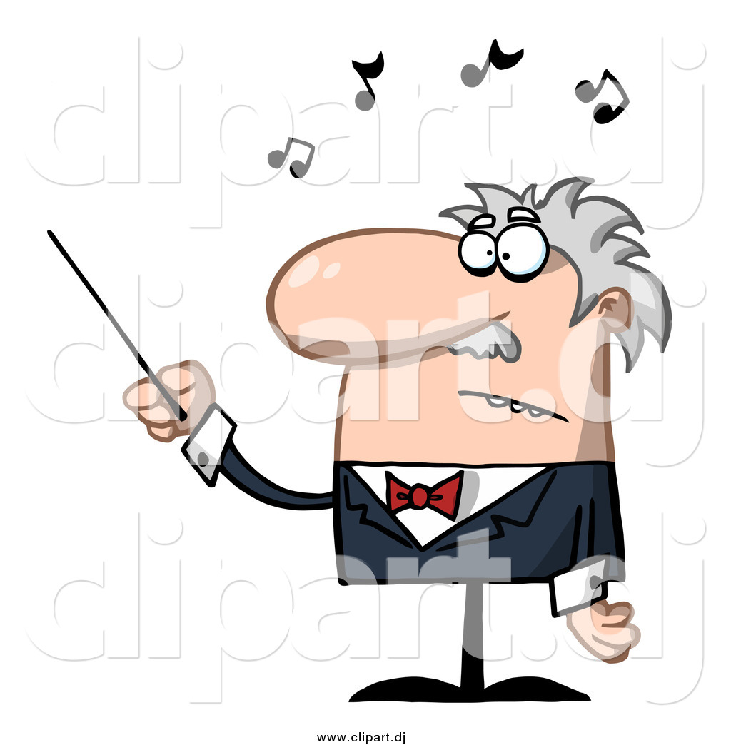 Cartoon Vector Clipart of a Senior Music Conductor Waving a Baton.