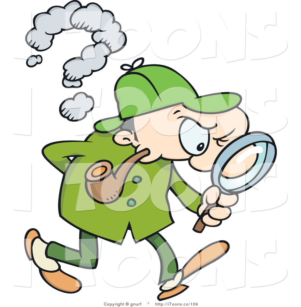 Vector Clip Art of a Detective Following a Trail by gnurf.