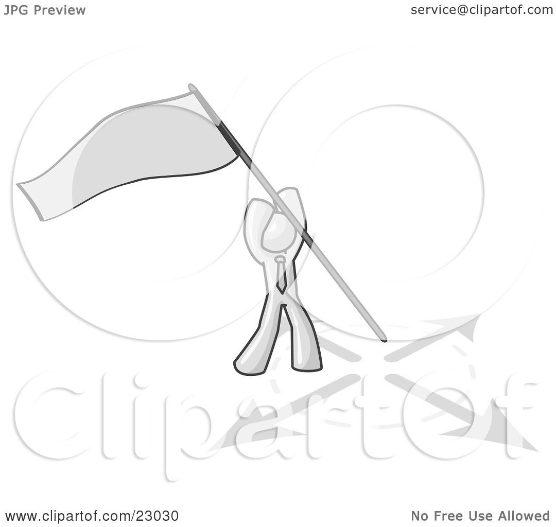 Clipart Illustration of a White Man Claiming Territory or.