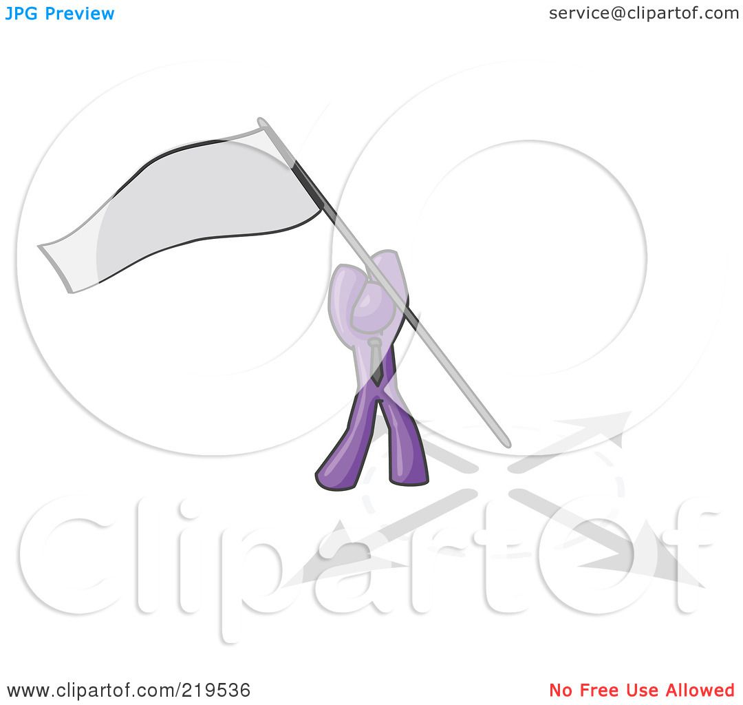 Clipart Illustration of a Purple Man Claiming Territory or.