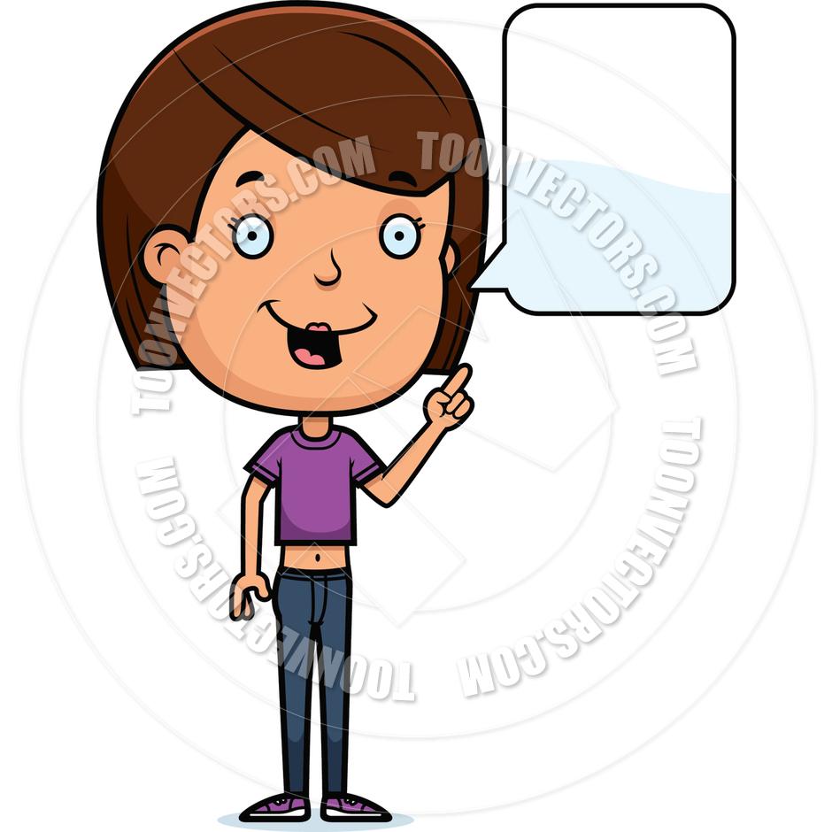 Cartoon Teen Girl Talking By Cory Thoman Toon Vectors.