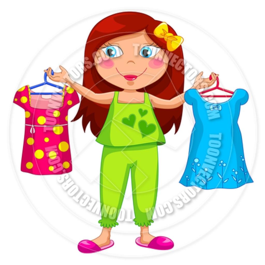 Cartoon Girl Choosing Clothes Ayelet Keshet Toon Vectors.