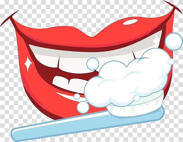 Brushing teeth illustration, Tooth brushing Oral hygiene.
