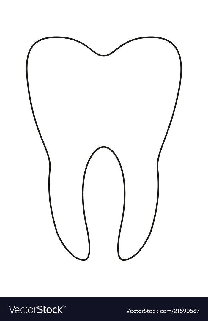 Line art black and white healthy tooth.