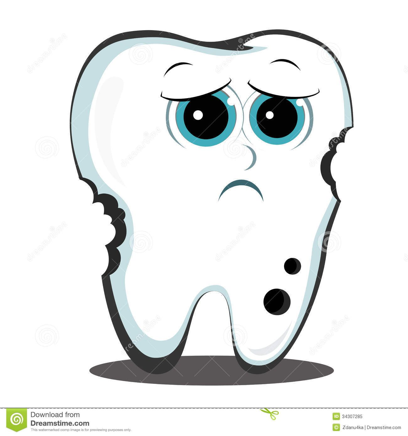 Cartoon Tooth Dental Cavity Stock Images.