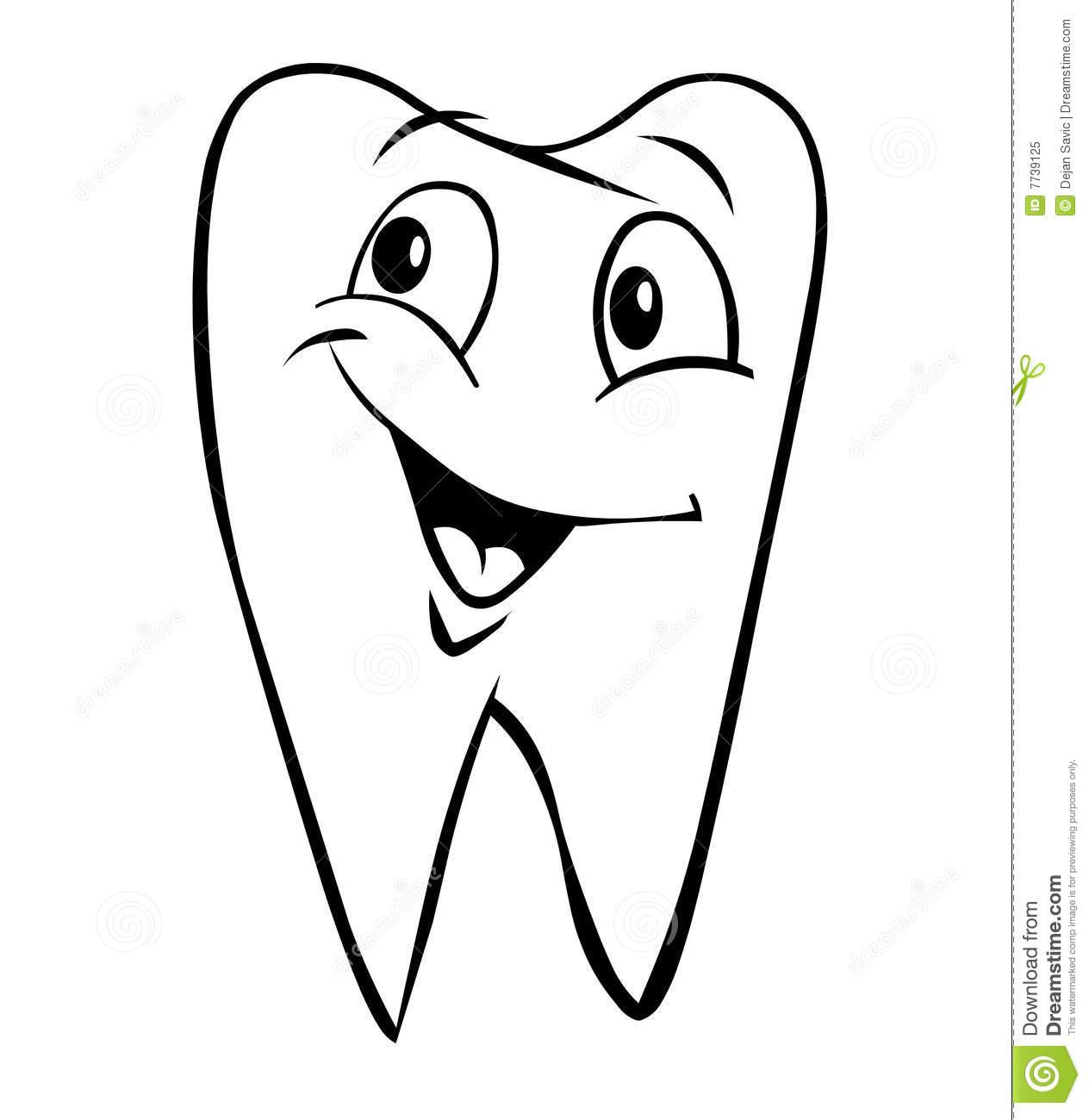 Teeth Cute Black And White Clipart.