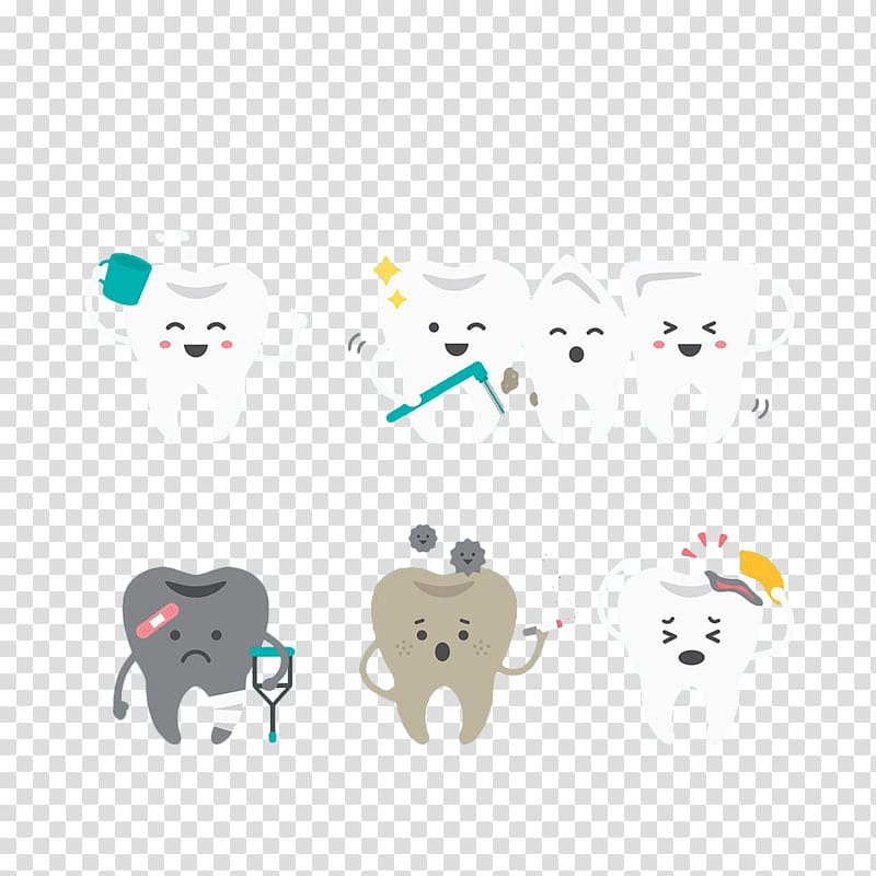 Tooth whitening Euclidean , Hand painted teeth illustrations.