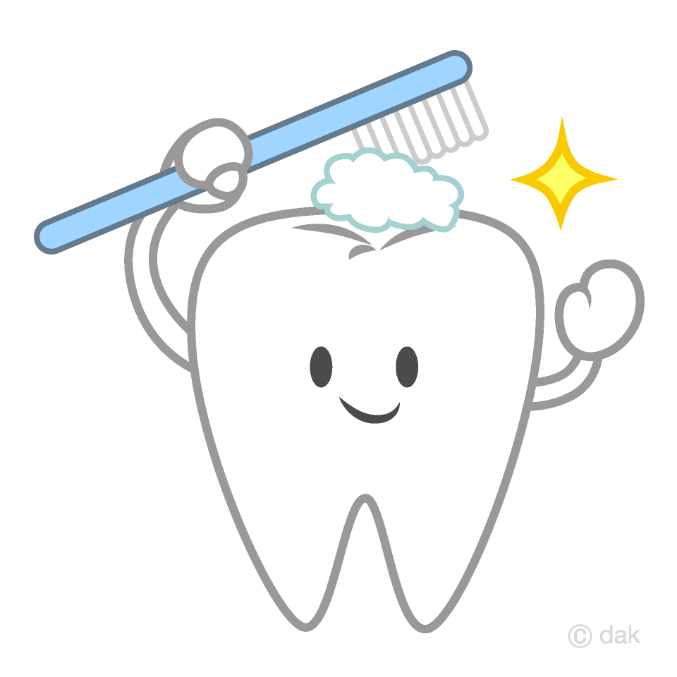 Free Cute Tooth Brushing Clipart Image|Illustoon.