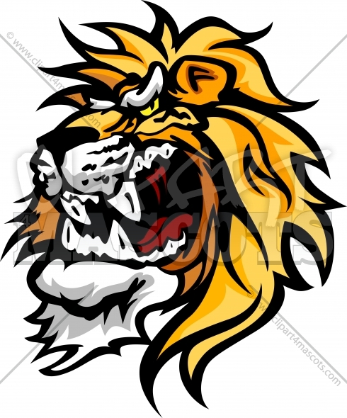 Cartoon Lion Head Graphic Vector Logo.