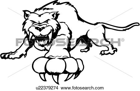 Clipart of , animal, cat, fang, feline, sabre tooth, tiger.