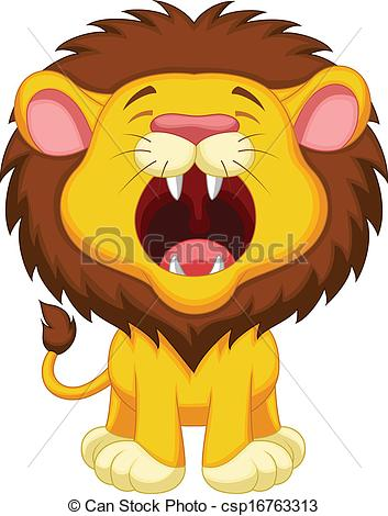 Clipart of a lion with mouth open.