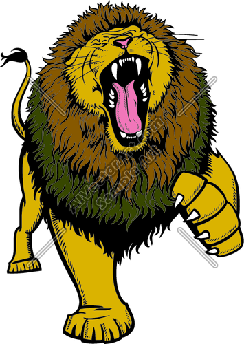 Cartoon roaring lion clipart.