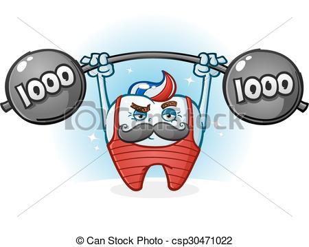 Vector Illustration of Tooth Body Builder Cartoon.