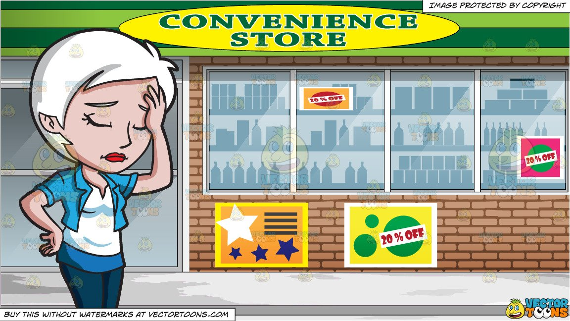 A Disappointed Woman Slapping Her Forehead and View Of The Downtown  Convenience Store.
