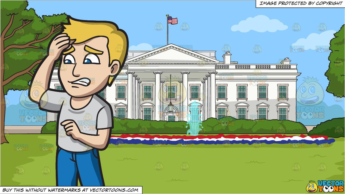 A Worried Father and The White House Background.