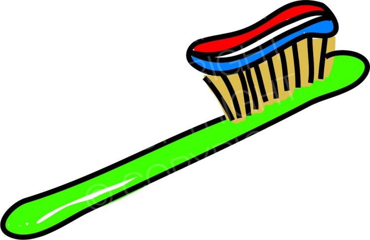 Cartoon Toothbrush with Paste Prawny Clip Art.