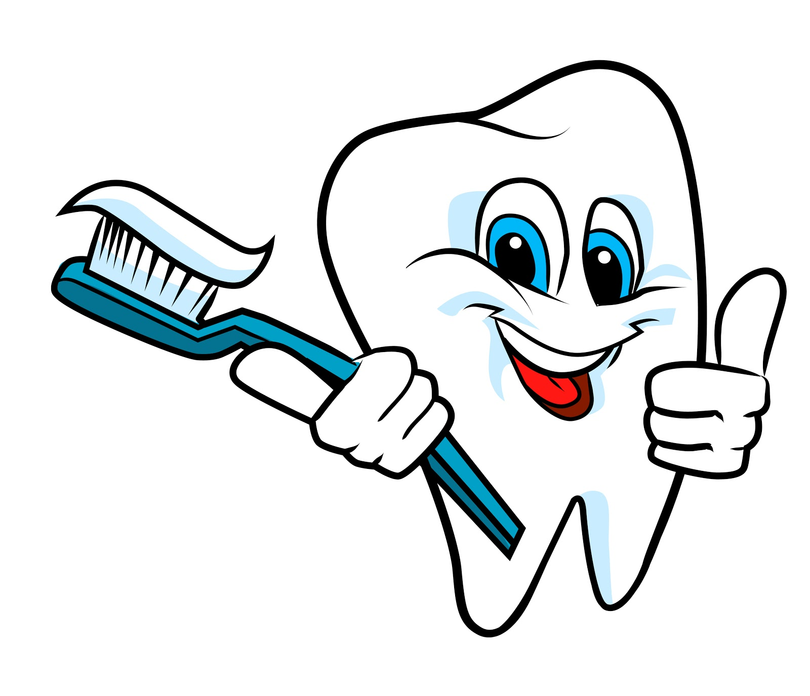 Tooth with toothbrush clipart.