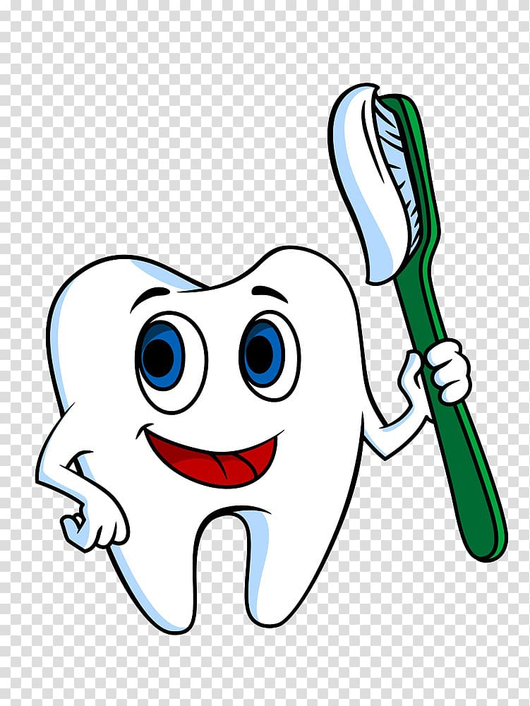White tooth character illustration, Toothbrush Tooth.