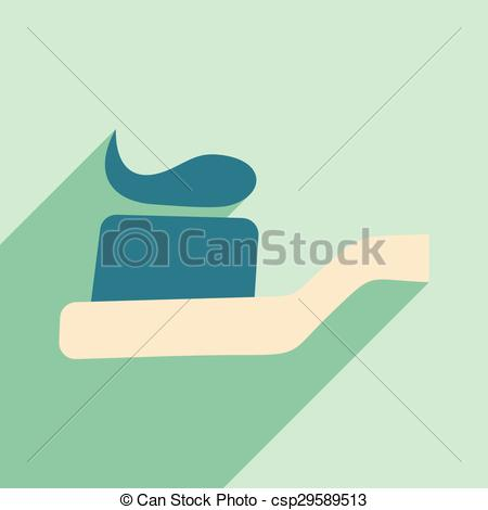 Vector Clip Art of Flat with shadow icon and mobile application.