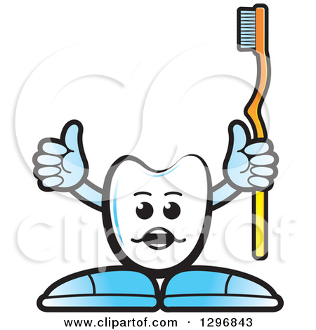 Clipart of a Cartoon Lineart Toothbrush.