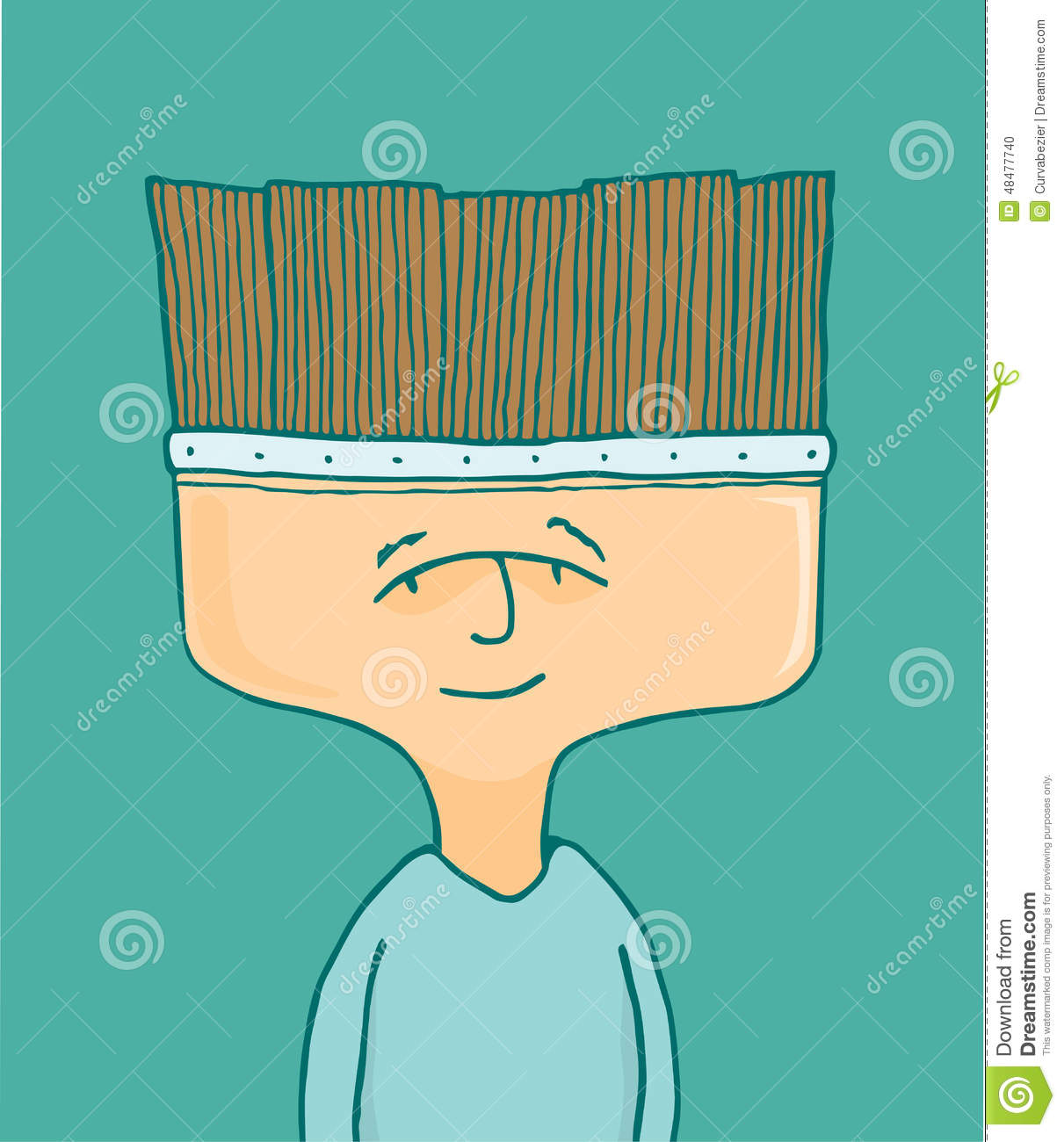 Man Or Painter Artist With Brush Head Stock Vector.