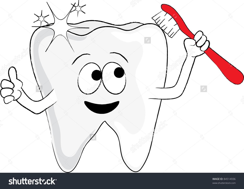 Clip Art Illustration Cartoon Tooth Holding Stock Illustration.