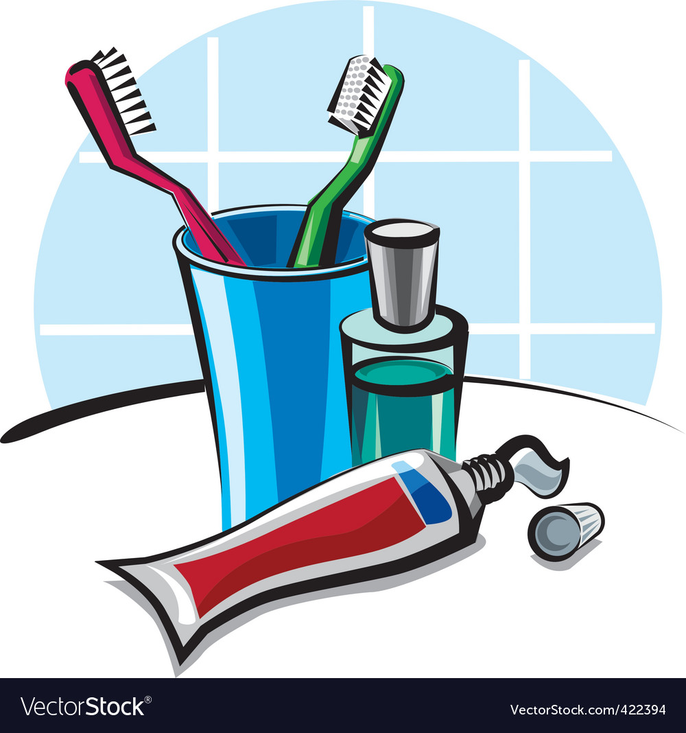 Toothpaste and toothbrush.