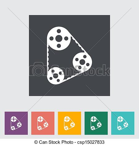 Vectors of Timing belt flat icon. Vector illustration. csp15027833.