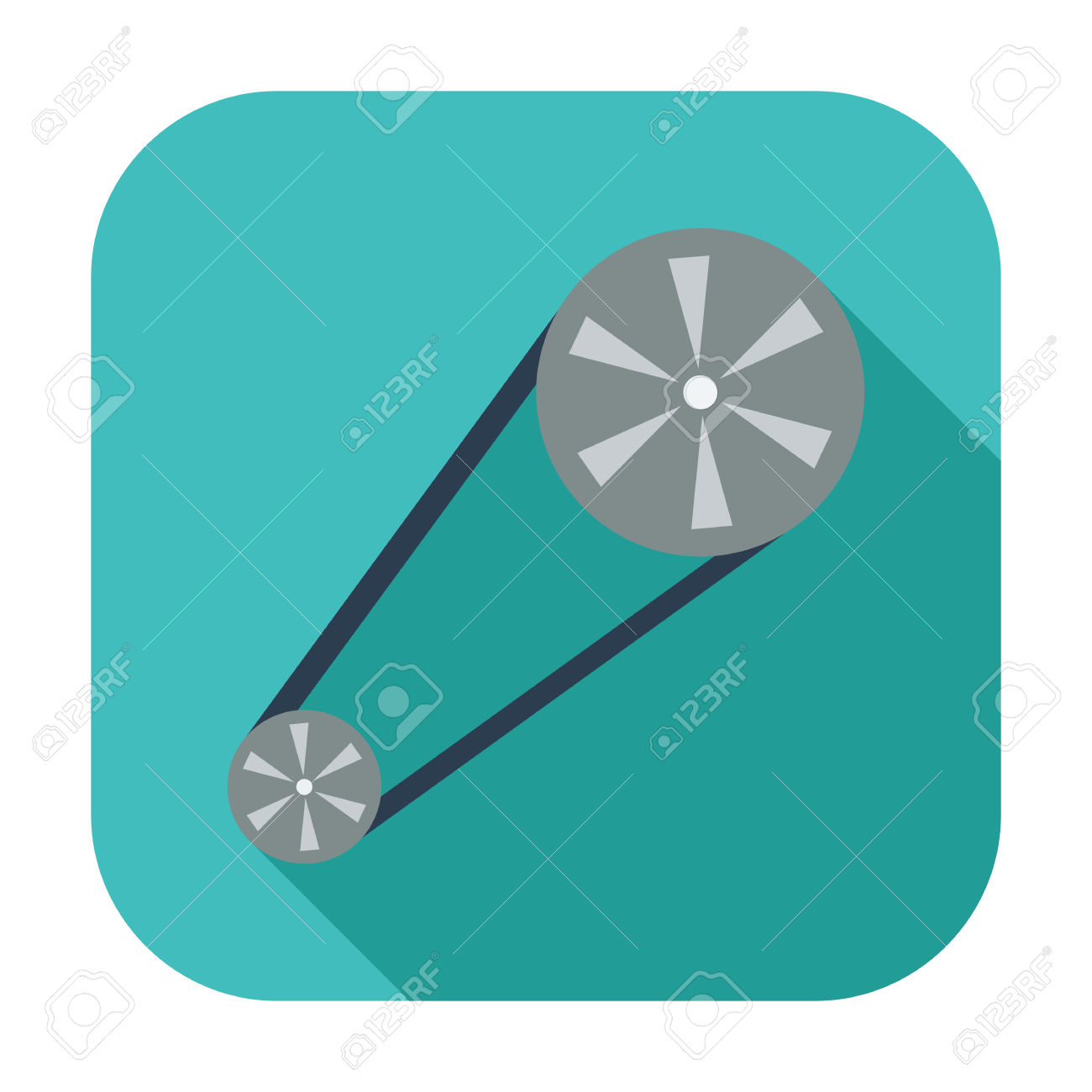Timing Belt. Single Flat Color Icon. Vector Illustration. Royalty.