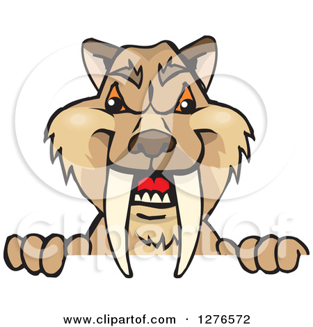 Clipart of a Saber Toothed Tiger Peeking over a Sign.
