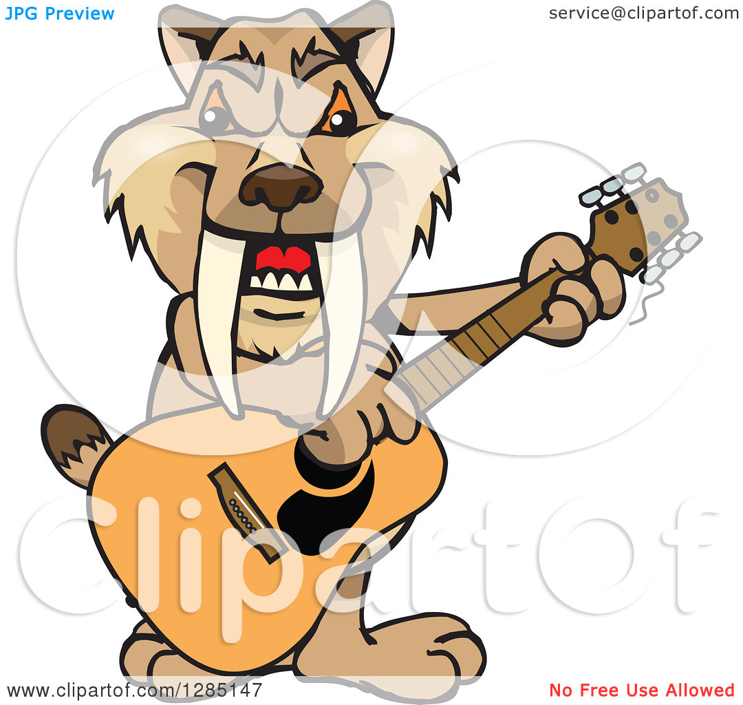 Clipart of a Cartoon Happy Saber Toothed Tiger Playing an Acoustic.