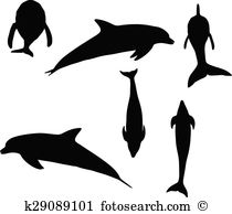 Small gregarious toothed whale Clipart Vector Graphics. 15 small.