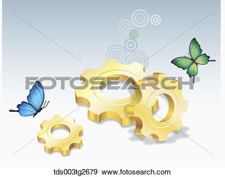 Stock Illustration of Saw toothed wheels and butterflies.