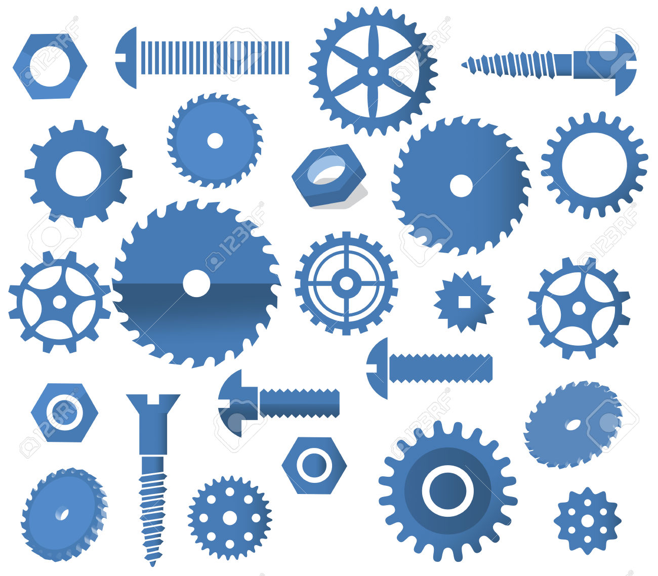 Vector Materials Tooth Wheels, Screws, Circular Saw Royalty Free.