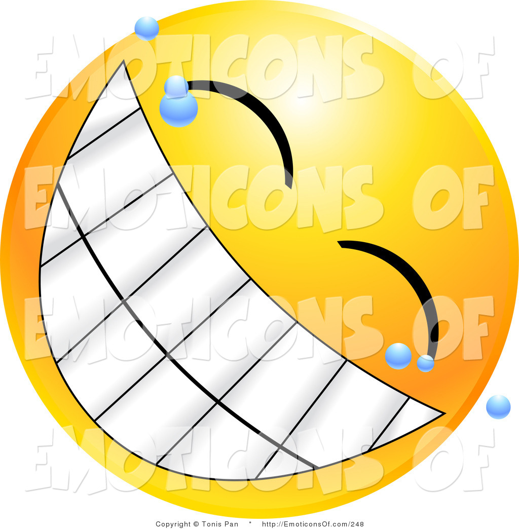 Clip Art Vector of a Happy Yellow Emoticon Face with Bubbles.