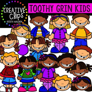 Toothy Grin Kids {Creative Clips Digital Clipart}.