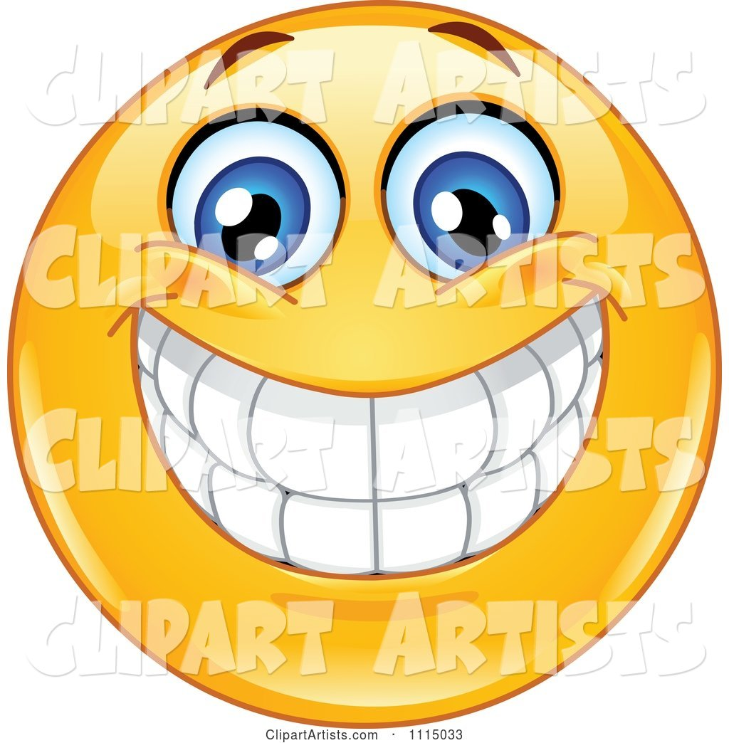 Happy Smiley Face With A Big Toothy Grin Clipart by yayayoyo.